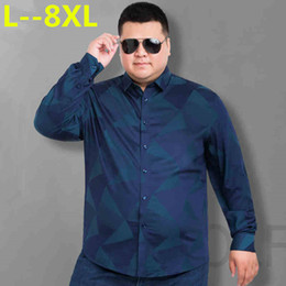 business tee shirts Australia - Plus 8XL 6XL 5XL Men Shirt Business Floral Cotton Design Long Sleeve Casual Brand Clothing High Quality Tops Tees Male Shirts