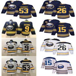 716439091 Buffalo Sabres 9 Jack Eichel Jersey Hockey 26 Rasmus Dahlin 53 Jeff Skinner  55 Rasmus Ristolainen Sam Reinhart Blue White Men Women Kids