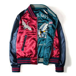Wholesale japanese style jackets men resale online – Japanese style Printing Designer Bomber Jackets Mens New Satin Fabrics Stand Collar Varsity coat Jacket both side wearable baseball jacket