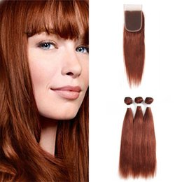 dark auburn red hair color NZ - Virgin Indian Dark Auburn Human Hair Weave Bundles with Lace Closure Silky Straight Color 33 Copper Red Virgin Hair Wefts with Closure