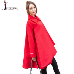 4bfc153bc78 Autumn Winter Red Woolen Coat Women Medium Long Loose Jacket Black Cloak  Wool Outerwear High Quality Female Woolen Jacket DD0791