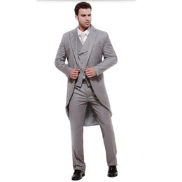 grey suit men fashion Canada - Mens suits Gray swallow-tailed coat high quality men suit elegant fashion groom suits groomsman prom suits (jacket+vest+pants)
