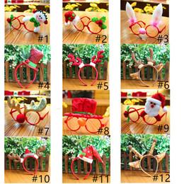 Discount cloth toys patterns Christmas Decoration Glasses Frame Hair Bows Multi-pattern Santa Claus Snowman Deer Bear Decoration for Children Christm