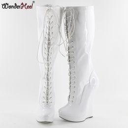 "$enCountryForm.capitalKeyWord NZ - Wonderheel hot patent white extreme high heel 7"" wedges heel with 3cm platform wedge knee high boots sexy fashion women boots"