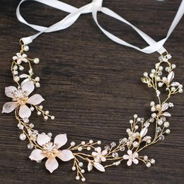 Korean Rose Gold Accessories Australia - Bride accessories gold flower pearl hair band Korean elegant bride hair band spot wholesale bride wedding accessories