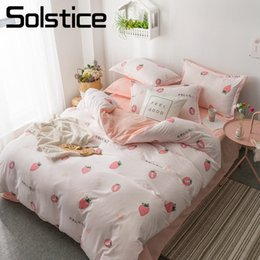 Discount teen bedding sets full - Solstice Home Textile White Soft Strawberry Duvet Cover Pillowcase Flat Bed Sheet Simple Girls Kid Teen Woman Bedding Li