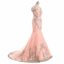 robe soiree sexy pink UK - Coral Beading Crystal Prom Dresses Mermaid 2017 Robe De Soiree Longue Sexy Special Occasion Party Dress Formal Evening Gowns