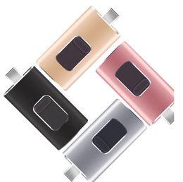 2018 Nuevo 4GB / 64GB / 128GB / 4 EN 1 Memoria USB doble OTG i Flash Drive U Disk para iPhone Android / IOS PC
