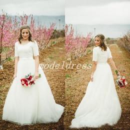 $enCountryForm.capitalKeyWord NZ - 2018 Country Ivory Wedding Dresses Jewel Short Sleeve Sweep Train Garden Beach Bridal Gowns Lace Top robe de mariée Plus Size
