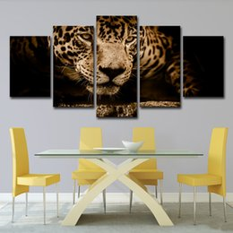 Discount leopard wall pictures - Canvas HD Prints Pictures Home Decor 5 Pieces Jaguar Paintings Abstract Animal Leopard Poster For Living Room Wall