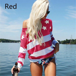 off shoulder blouse cotton NZ - Star Print women t shirts Contrast Color cotton blouse Loose Summer Fashion One Off Shoulder Long Sleeves shirt woman clothing red blue 5XL