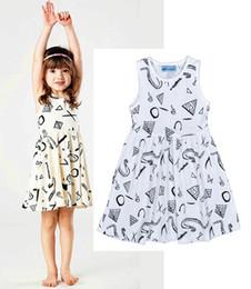 Discount girls princess dress pattern - 2018 INS Kids Print Dresses Girl Fashion Princess geometry pattern dot Dress new Children Cartoon Print sleeveless Dress