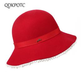 edceda04af3ad4 QDKPOTC 2018 Autumn Winter High Quality Female Fedoras Bucket Pearl Cap  Wool Felt Women Hats Fashion Elegant Fedora Hat