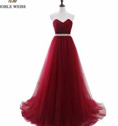 Noble Weiss Dark Red Appliques Tulle Long Evening Dresses 2019 Formal Wedding Party Dress Robe De Soiree Bride Reception Gown Rich And Magnificent Evening Dresses