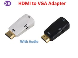 Hdtv Audio NZ - Hdmi to VGA Adapter With Audio Output For PC to HDTV Projector 1080p HDIMI Male To Female VGA Potable Adapter NO3 White Black DHL