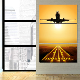 $enCountryForm.capitalKeyWord Canada - 3 Panel HD Printed Decorative Pictures Flying Airplane Sunset Poster Wall Art Canvas Framed Canvas Painting Landscape