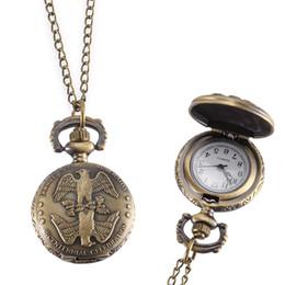 plastic eagles 2019 - Vintage Pocket Watch Bronze Color Quartz Watch Cool Chain Symmetrical Eagle Pattern Watches LXH discount plastic eagles