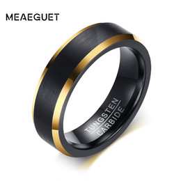 Discount black tungsten engagement rings - Meaeguet Black Gold Color Tungsten Ring Men Carbide Engagement Rings Jewelry Matte Brushed Wedding Anillos Band USA Size