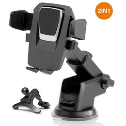 Chinese  2 in 1 Universal Car Mobile Phone Air Vent Mount Holder + Windshield Stand With Long Arm Anti-skid Base for Iphone Samsung manufacturers