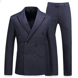 summer plus size cloths Canada - Plaid Cloth Business Party Men Suits Three Piece Jacket Pants Vest Peaked Lapel Double Breasted Wedding Groom Tuxedos 2018