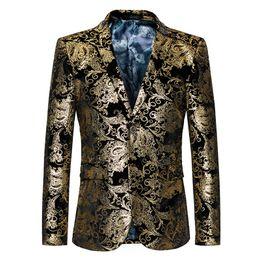 $enCountryForm.capitalKeyWord Australia - 2017 new arrive autumn winter fashion men gold flower pattern soft suits top quality evening party presenters plus size blazer