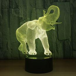 Nouveau Style acrylique 7 Couleur Éléphant 3D Visuel LED Veilleuses Pour Enfants Touch USB Lampe De Table Bébé Sein Drop Shipping Livraison Gratuite