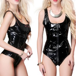 women shiny jumpsuit NZ - Erotic PU Leather Shiny Women's Bodysuit Clubwear Sexy Women Fetish Sleeveless Jumpsuit Rompers Black Wet-look Leotard S-XXL New