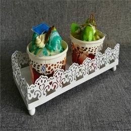 Wholesale designing cupcakes for sale – custom Stable Iron Cupcake Stands White Not Easy To Deform Cupcake Stands Rectangle Hollowed Out Design Small Easy Carry as cc