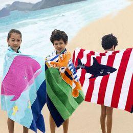 Discount kids beach towel robes - High quality 15 styles Dinosaur Mermaid crocodile bath towel Kids stripe Beach towel cartoon animal Towels Children Robe