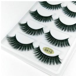 5 paires / boîte 3D 100% vison coin épais faux cils bleu noir long et épais croix cils faits à la main makeupMink cils