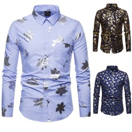 hot stamp printing NZ - Mens Shirts New Designer Clothing Casual Shirt Print Long Sleeve Casual Shirts Turn-down Collar Hot Stamping Gold Silver Autumn Shirt Sale