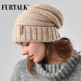 Beanies For Winter Australia - FURTALK Winter Knitted Women Hat Slouchy Beanie for Girls Skullies Cap A047 S18101708