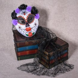 Full Face Clown Mask Australia - Scary Flower Black Lace Veil Full Face Masks Kids Adults Horror Clown Ghost Masks Carnival Party Dress Decoration Christmas