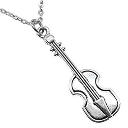 vintage metal necklaces UK - WYSIWYG 5 Pieces Metal Chain Necklaces Pendants Vintage Necklace Handmade Musical Instrument Violin 42x13mm N2-B13474