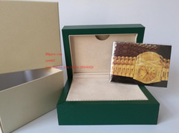 Wood luxury box Watches online shopping - Luxury High Quality Green Watch Original Box Papers Handbag Card Boxes KG For Watches