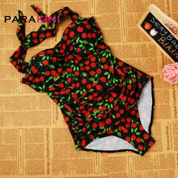 46c269557f PARAKINI 2017 Plus Size XXL 3XL Cherry Floral Print Swimsuit Women Halter  One Piece Swimwear Polka Dots Anchors Push Up Monokini