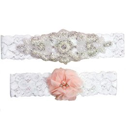wedding ivory garter UK - Full Crystals Bridal Garters for Bride Lace Wedding Garters White Ivory Cheap Vintage Wedding Leg Garters set
