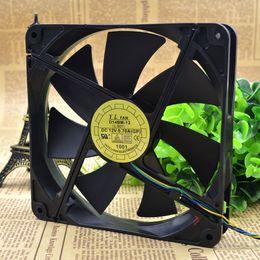 12 Cm Fan Australia - For Yuelun 14CM cm 14025 12V0.70A double ball power cooling fan D14Bm-12 PWM