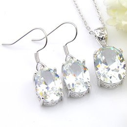 $enCountryForm.capitalKeyWord NZ - 6 Sets Luckshine White Topaz Gems Oval 925 Silver Necklace Zircon Pendants Earring Sets USA Israel Wedding Engagement Weddings Jewelry Sets