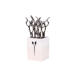 bedding clips UK - Professional Hairdressing Scissors Holder Stand Case Salon Hairdresser Scissors Hair Clips Storage Box Pot Clips Holder