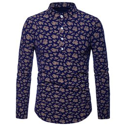 Men Paisley Henley Shirt Mens Business Casual Shirts 2018  New Mandarin Collar Long Sleeve Dress Shirt Men Clothes Camisa