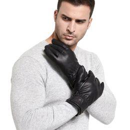 Leather Gloves For Men Australia - Men PU Golves Winter Warm Five Finger Wrist Black Gloves Thicken Touch Screen Fur Mittens For Driver Worker Protective Gloves