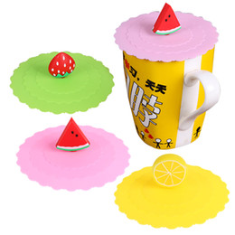 Lips Seals Australia - rinkware Cups Saucers Lace Silicone Covers for Cup Dustproof Thermal Insulation Reuseable Suction Seal Cup Lip Cartoon Fruit Strawberry W...
