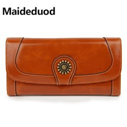 Wholesale High Capacity Fashion Women Wallets Long Brand Design Retro Genuine Leather Wallet Clutch Coin Purse Lady Bag