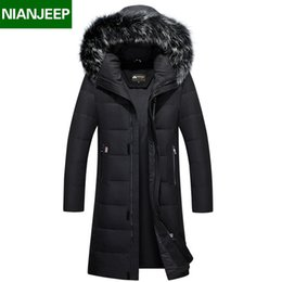 Wholesale Top Quality Winter Men s Long Design White Duck Down Jackets Mens Fashion Thick Warm Big Fur Collar Hooded Parkas Outerwear