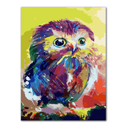 paint number kit diy 2019 - No Frame Owl Animals DIY Painting By Numbers Kits Paint On Canvas Acrylic Coloring Painitng By Numbers For Home Wall Dec