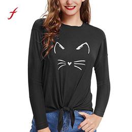 5c8adf32e Cat Print Bandage Tops Shirts Women Casual O Neck Long Sleeve Tee T-Shirt  poleras de mujer moda 2018 korean women tshirts