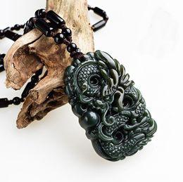 $enCountryForm.capitalKeyWord Australia - Natural genuine Hotan jade ink green jade dragon brand male jade zodiac dragon play bead pendant