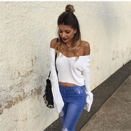Cropped Tees Australia - Women Knitted Short Crop Sweater Jumper Tops V Neck Long Sleeve Knitwear Shirt 2019 New Fashion Female Solid T-shirt top tees