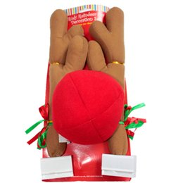 reindeer ears NZ - Hot 44*14cm Christmas Reindeer Antlers and Red Nose Car Kit Christmas Fun Rudolph Reindeer Ears for All Vehicls Car Decoration Xmas